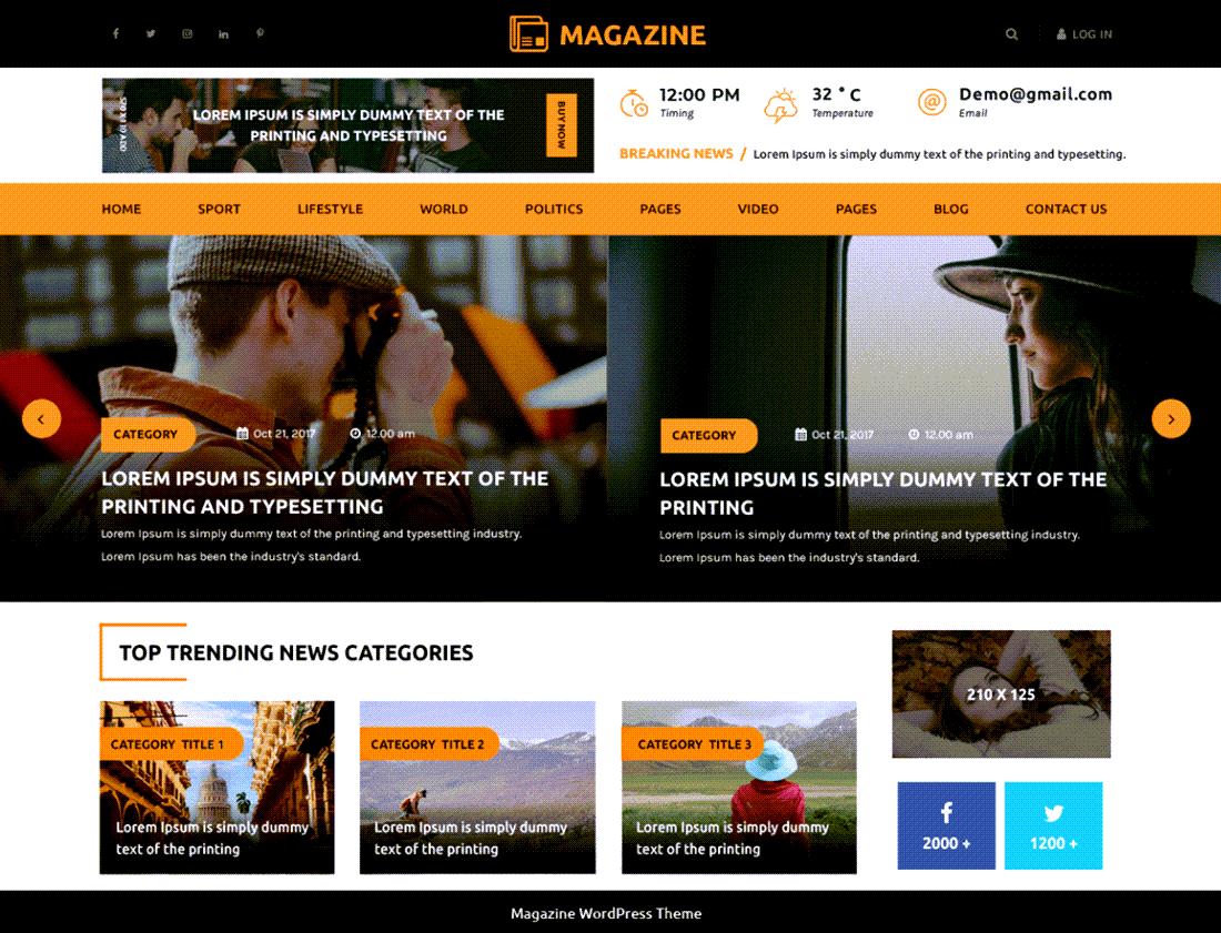 Multipurpose Magazine Theme ScreenShot Demo