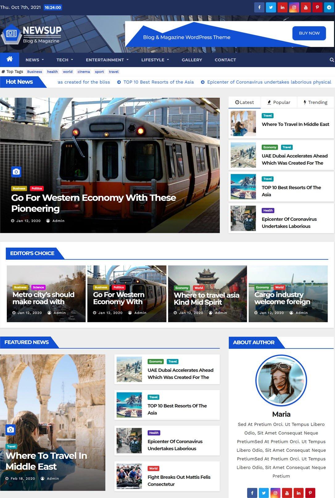 Newsup Theme For WordPress ScreenShot