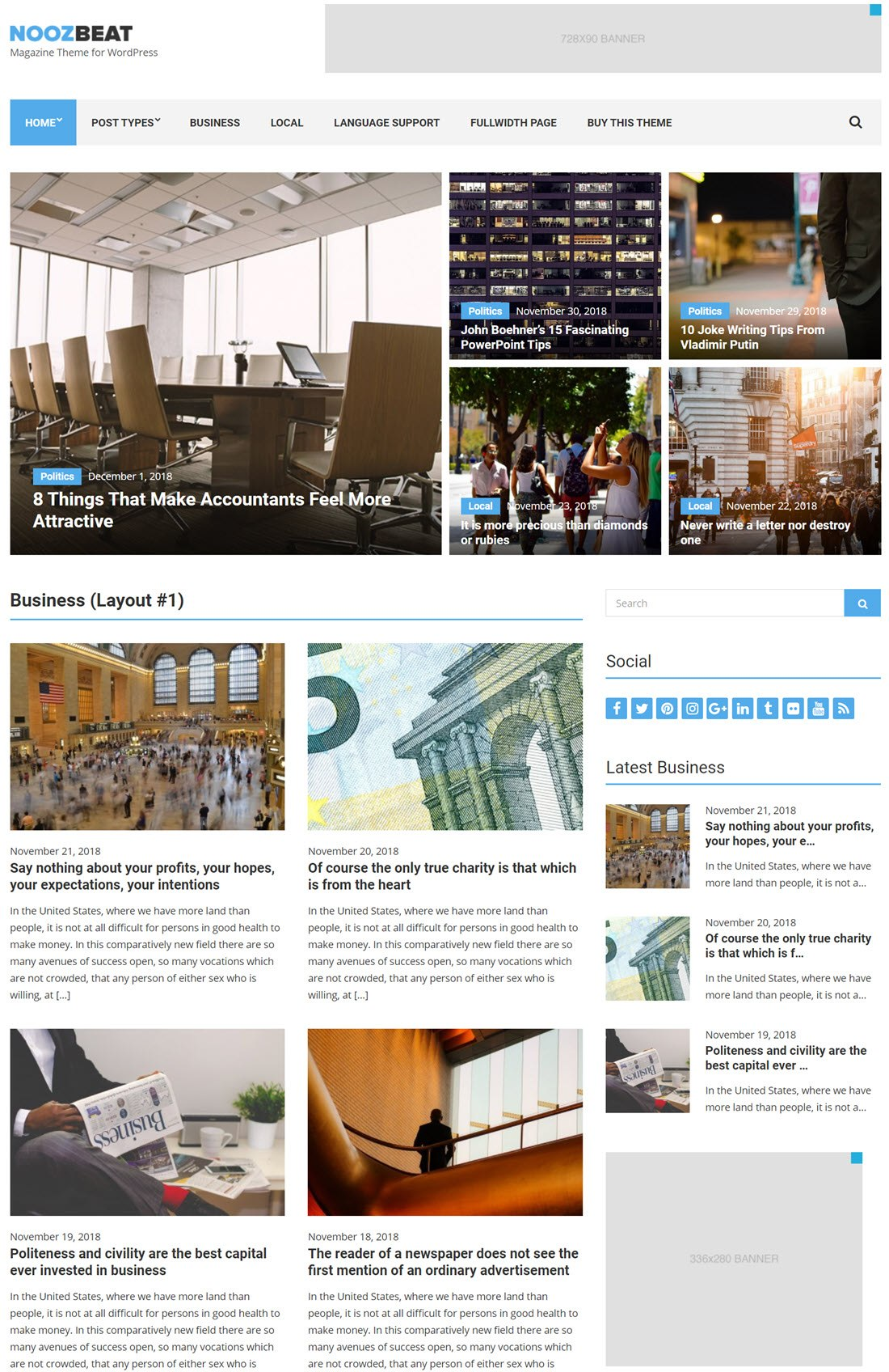 Noozbeat Theme For WordPress ScreenShot