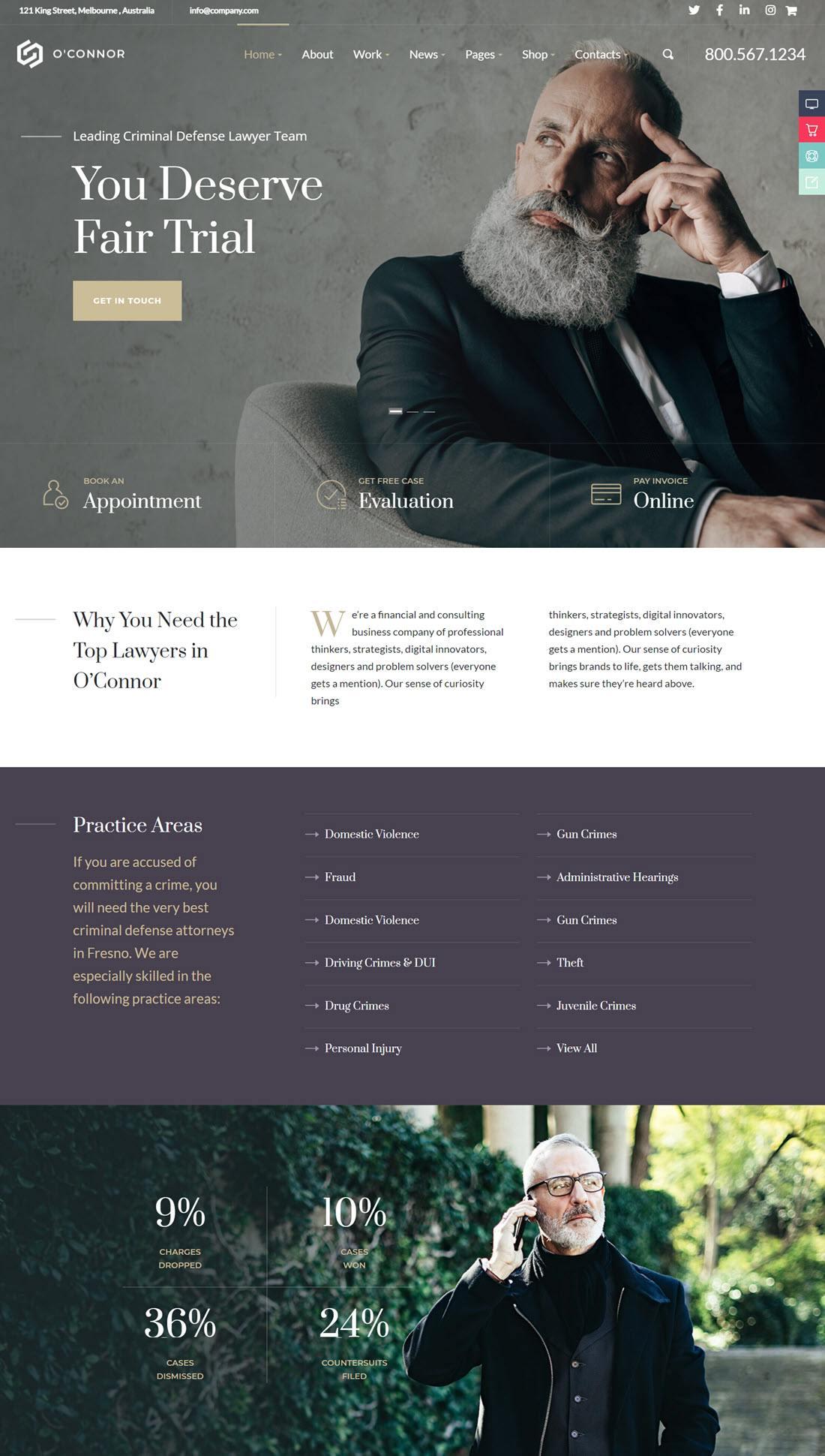 Oconnor Lawyer & Attorney Theme For WordPress screenshot