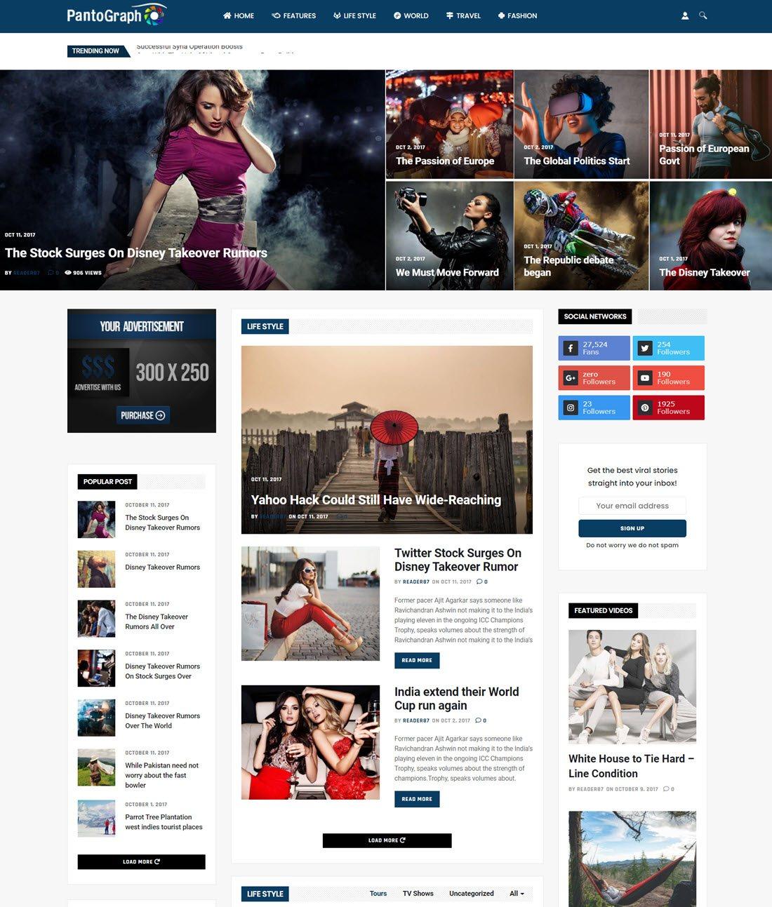 PantoGraph Newspaper Magazine Theme Screenshot