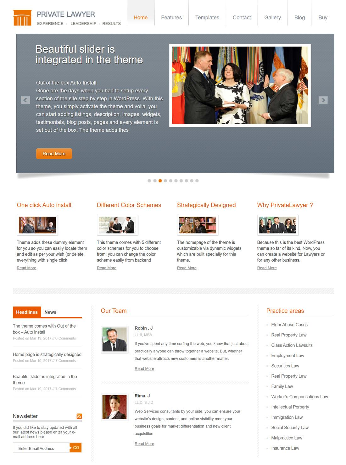 Private Lawyer Theme For Wordress Screenshot