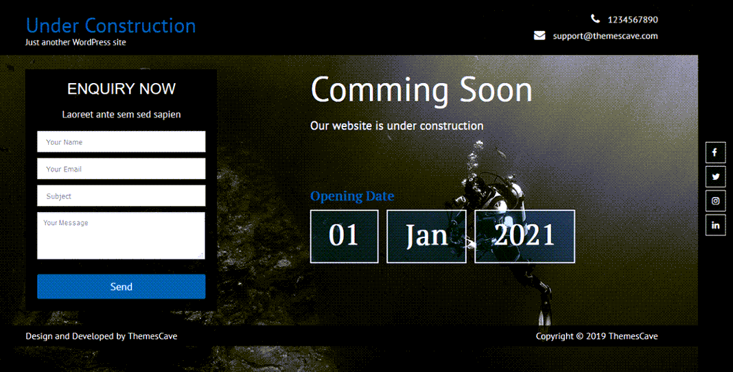 Under Construction Lite Theme For WordPress ScreenShot