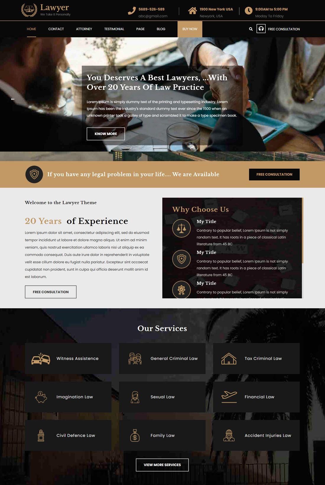 VW Lawyer Attorney Theme For WordPress Demo